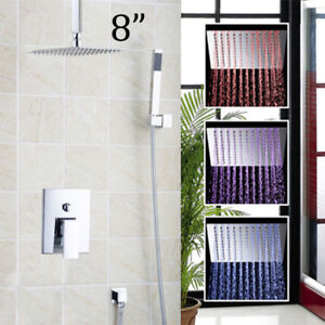 Bathroom-8-034-LED-Celling-Shower-Head-Taps-Handheld-Spray-Mixer-Faucets-Set-System