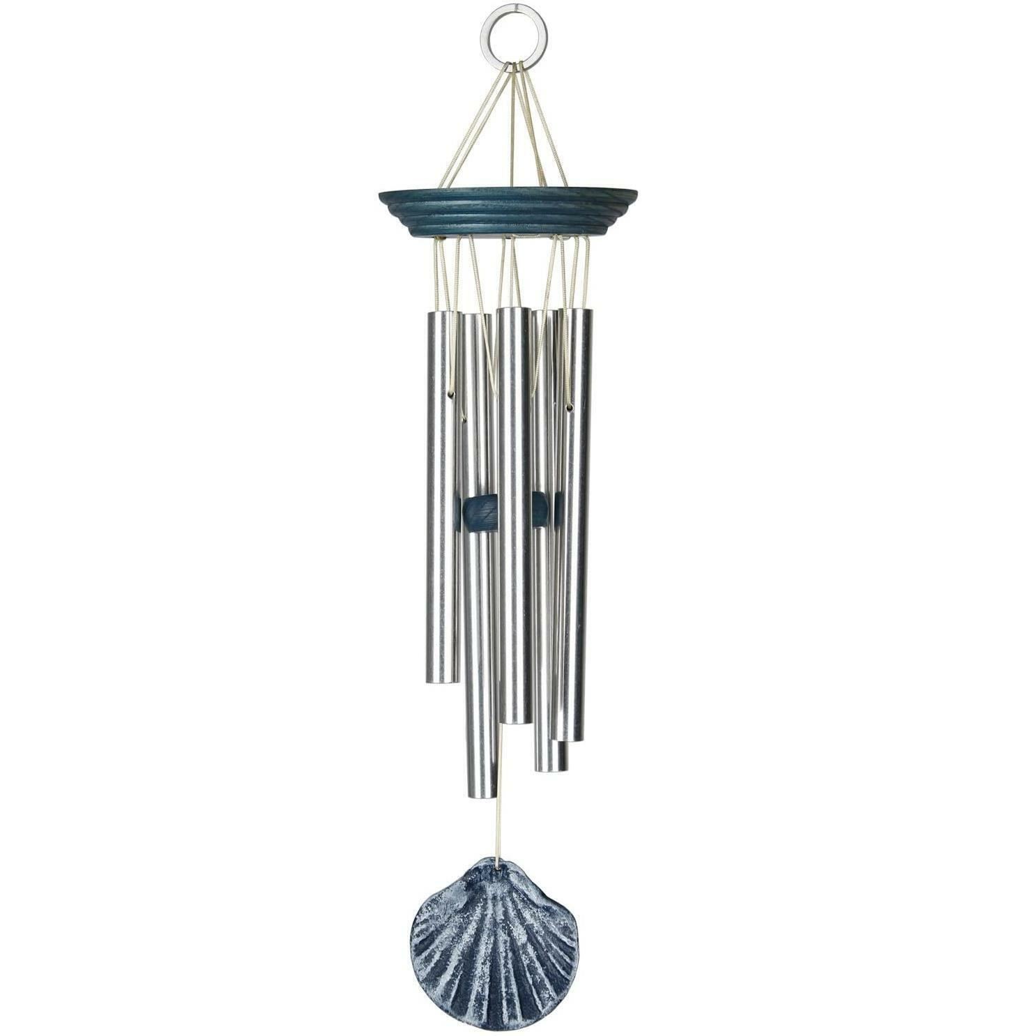 Woodstock Chimes Summer Seashore Blue Scallop Hanging Garden Musical Wind Chime