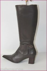 SPIRAL-Bottes-Pointues-Cuir-Marron-Fonce-T-40-TBE