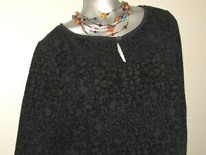 NEW-Women-039-s-TALBOTS-Black-Floral-Boho-Long-Sleeve-Stretch-Top-Size-1X-18-20