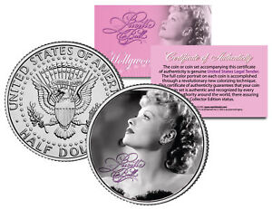 Lucille-Ball-034-I-Love-Lucy-Profile-034-JFK-Kennedy-Half-Dollar-US-Coin-Licensed