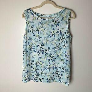 J. Jill Love Linen Women's Sleeveless Tank Top Size Small Floral Casual Blue