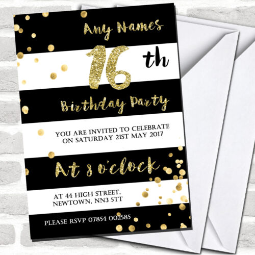 Black /& White Stripy Gold Confetti 16th Birthday Party Invitations