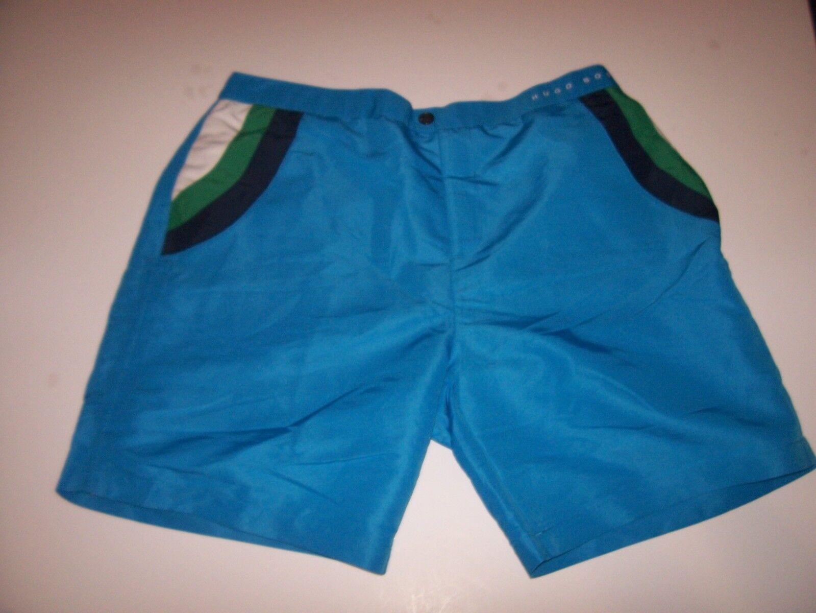 NEW HUGO BOSS turquoise RAINBOWFISH swim trunks board shorts swimsuit large XL