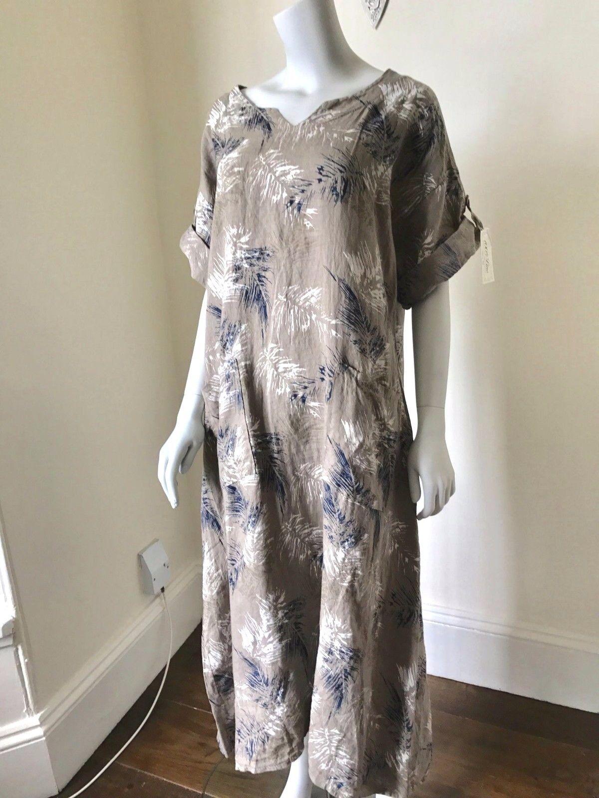 LAGENLOOK LAGENLOOK LAGENLOOK LMT Gorgeous Leaf Print Maxi Linen Dress UK 8 10 12 14 16 18 NEW | Realistisch  | Am wirtschaftlichsten  | Praktisch Und Wirtschaftlich  9c71ab