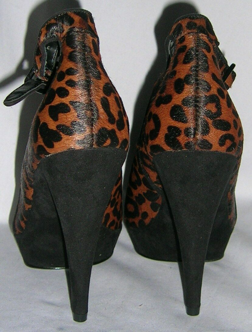 MARKS AND SPENCERS 100%REAL LEATHER LEATHER LEATHER SUEDE LEOPARD PRINT schuhe UK 5 EUR 38 US 7 6f013a