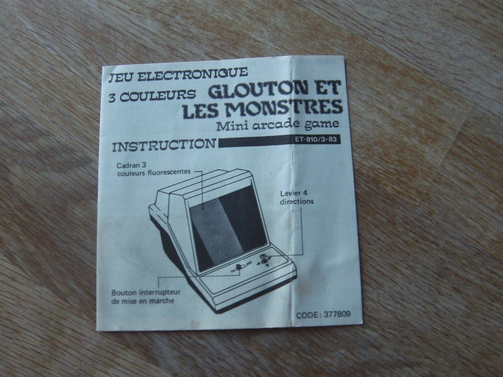 Table top Mini arcade Game Instructions   Glouton et les monstres   game watch