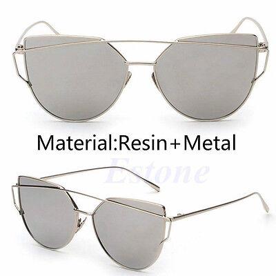 Women's Glasses Metal Flat Lens Vintage Fashion Mirrored Oversized Sunglasses