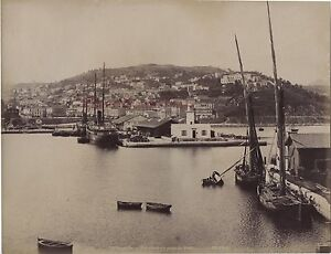 Philippeville-Skikda-Il-Porto-Algeria-Vintage-Albumina-Ca-1880