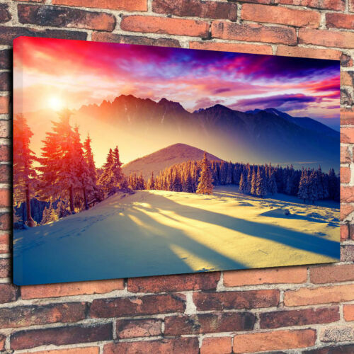 """/""""Snowy Mountain Sunrise/"""" Printed Canvas Picture A1.30/""""x20/"""" 30mm Deep Home Decor"""