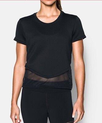 NWT Under Armour Women/'s Show Stopper Studio Short Sleeve Shirt Black 1294955