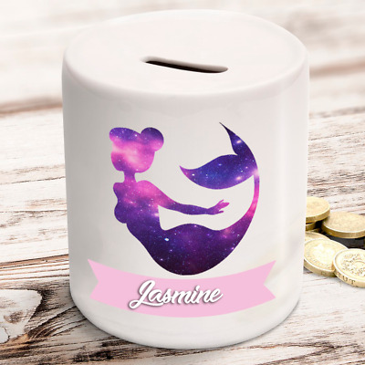 Personalised kids childrens money box in mermaid design gift present idea