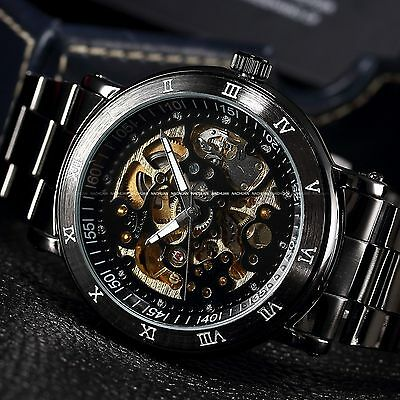 Steampunk Men's Skeleton Self-winding Auto Mechanical Stainless Watch - Man Gift