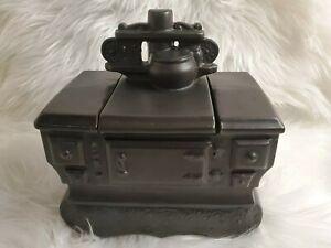 Vintage 1962 McCoy Pottery Iron Stove Cookie Jar, Solid Black.