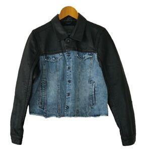 BLANKNYC-Womens-Denim-amp-Black-Faux-Leather-Jacket-Arachnophobia-Style-51R-9138