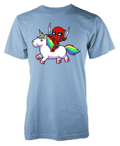 Deadpool Riding Rainbow Fluffy Unicorn Kids T Shirt