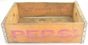 Pepsi-Cola-Crate-Wood-Grain-Carrier-Signer-1988-Collectible-Soda-Pop-Case-Decor