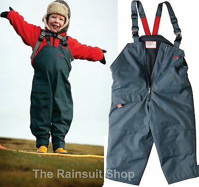 DRY KIDS Childrens Waterproof Dungarees Unlined Boys and Girls Rainwear for Outdoor Play