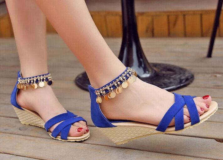 Femmes sandals wedge by cm 5,5 cm bleu belt fine jewel code