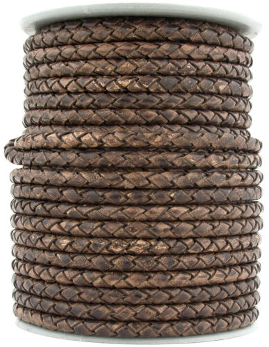 Xsotica® Round Bolo Braided Leather Cord 5 mm 1 Yard Flat Rate Shipping