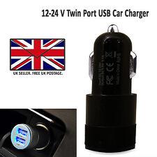 2 in 1 LED Universale USB TWIN Dual Caricabatteria Da Auto Presa Sigaretta Accendino Nero