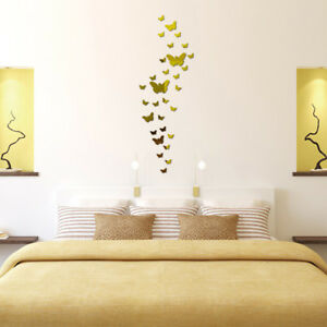 30pc Plastic Butterfly Mirror Wall Stickers 3d Wall Decals Home Decor Gold A Ebay