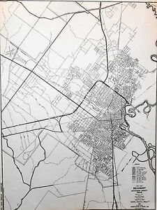 Map Of Beaumont Texas.Old Original Jefferson County Texas Highway Dept Map 1958 City Of