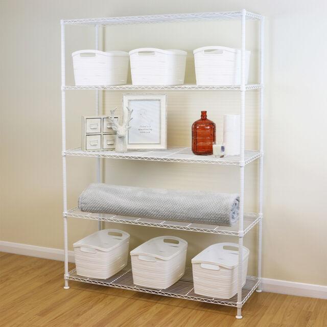 5 Tier White Metal Storage Rack/Shelving Wire Shelf Kitchen/Office Unit  180cm