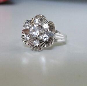 hot-vente plus récent une grande variété de modèles coupe classique Détails sur Bague en Or Blanc 18K marguerite ou fleur sertie de  diamants-Gold Diamonds Ring