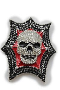 New-Man-Big-Belt-Buckle-Skeleton-Silver-Metal-Red-Black-Rhinestones-Explosion