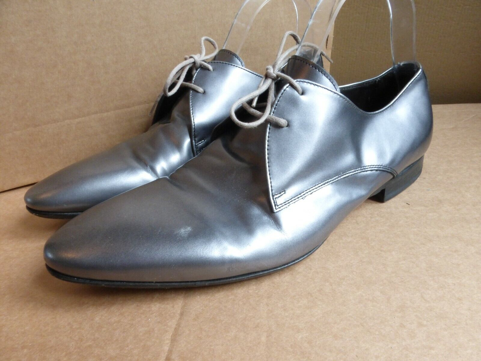 Paul Smith P.S pewter grey metallic leather smart formal shoes 40.5 6.5 VGC