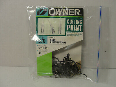 OWNER HOOKS SSW ALL PURPOSE BAIT BLACK SUPER NEEDLE POINT 5311-131 SIZE 3 QTY 40
