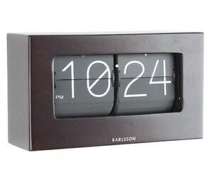Karlsson-flip-desk-clock-Marron-Fonce-Bois-amp-Noir-Autoportante-Boxed