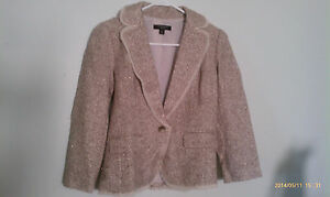 0p Tweed Taylor Beige Wool corta Shimmer Gold Ann Blend Giacca xpq6UHHzw