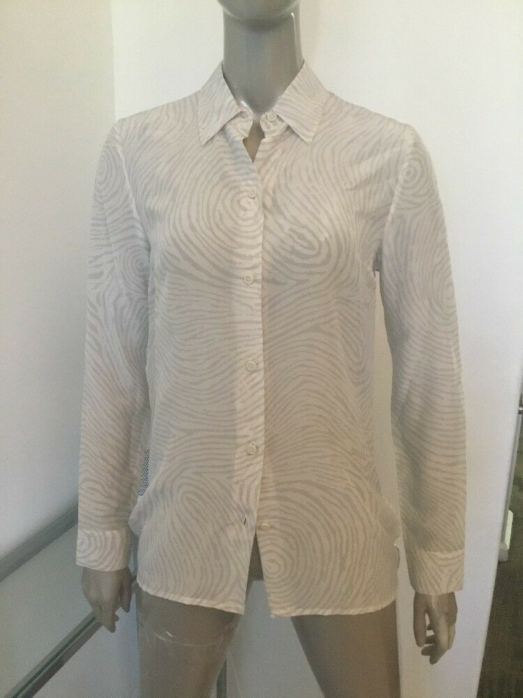 NWT OPENING CEREMONY WOMENS LIGHT GREY SILK ABSTRACT BLOUSE SHIRT SMALL