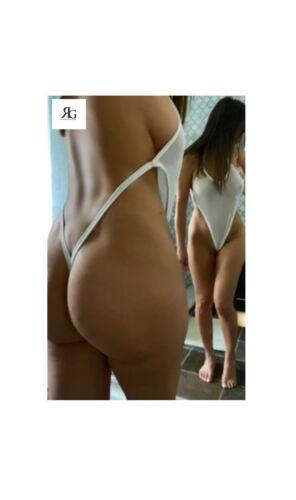 White Sheer Mesh Backless One Piece Lingerie Thong Bodysuit By Revolution Girl