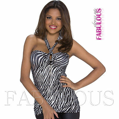 Sexy Womens Padded Halter Top Size 6 8 10 Hot European Party Clubbing XS S M