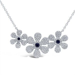 0.66 TCW 14K White Gold Diamond Blue Sapphire 3 Flower Pendant Necklace Daisy