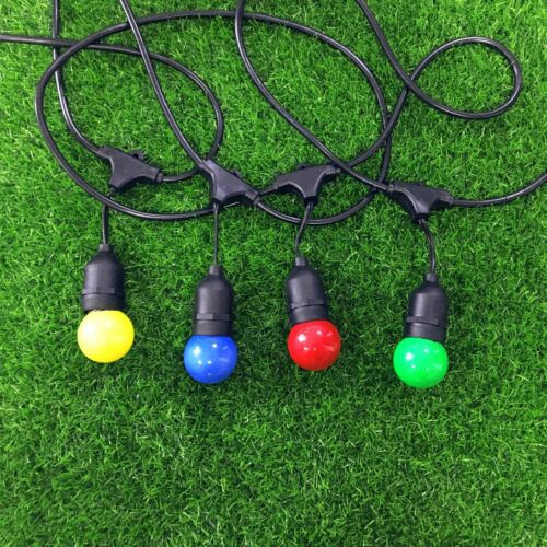 20m Extendable Black//White Festoon String Lights With bulbs Garden Outdoor Party