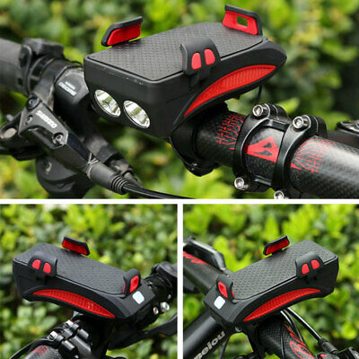 Rechargeable Battery Bicycle Headlights Phone Holder Combo Front Light Headlamp