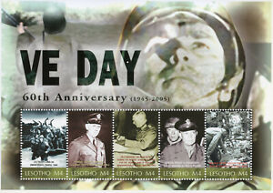 Lesotho-2005-MNH-WWII-WW2-VE-Day-World-War-II-Eisenhower-Patton-5v-M-S-Stamps