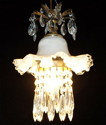 1of3 Swag Plugin hanging lily lamp Chandelier Crystal prism Brass Tole pendant