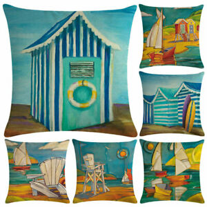 Am-Beach-House-Painting-Pillow-Case-Cushion-Cover-Art-Cafe-Home-Office-Decor-Re