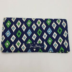 Vera-Bradley-Checkbook-Cover-Blue-Diamond-Print-Green-White-Bi-Fold
