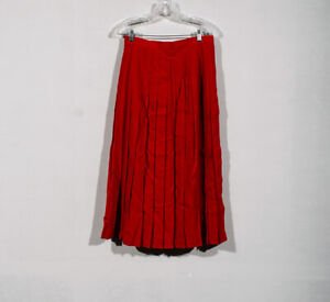 Austin Reed 100 Worsted Wool Red Modest Maxi Full Pleated A Line Skirt Sz 12 Ebay