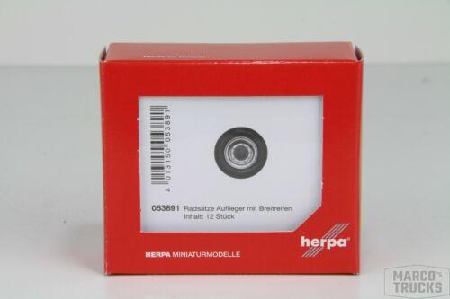 053891 //HN470 Herpa 12 Radsätze Breitreifen für Auflieger chrom//blau Nr