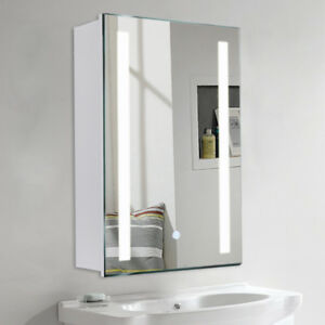 Image Is Loading Led Bathroom Mirror Cabinet Light Up Storage Cupboard