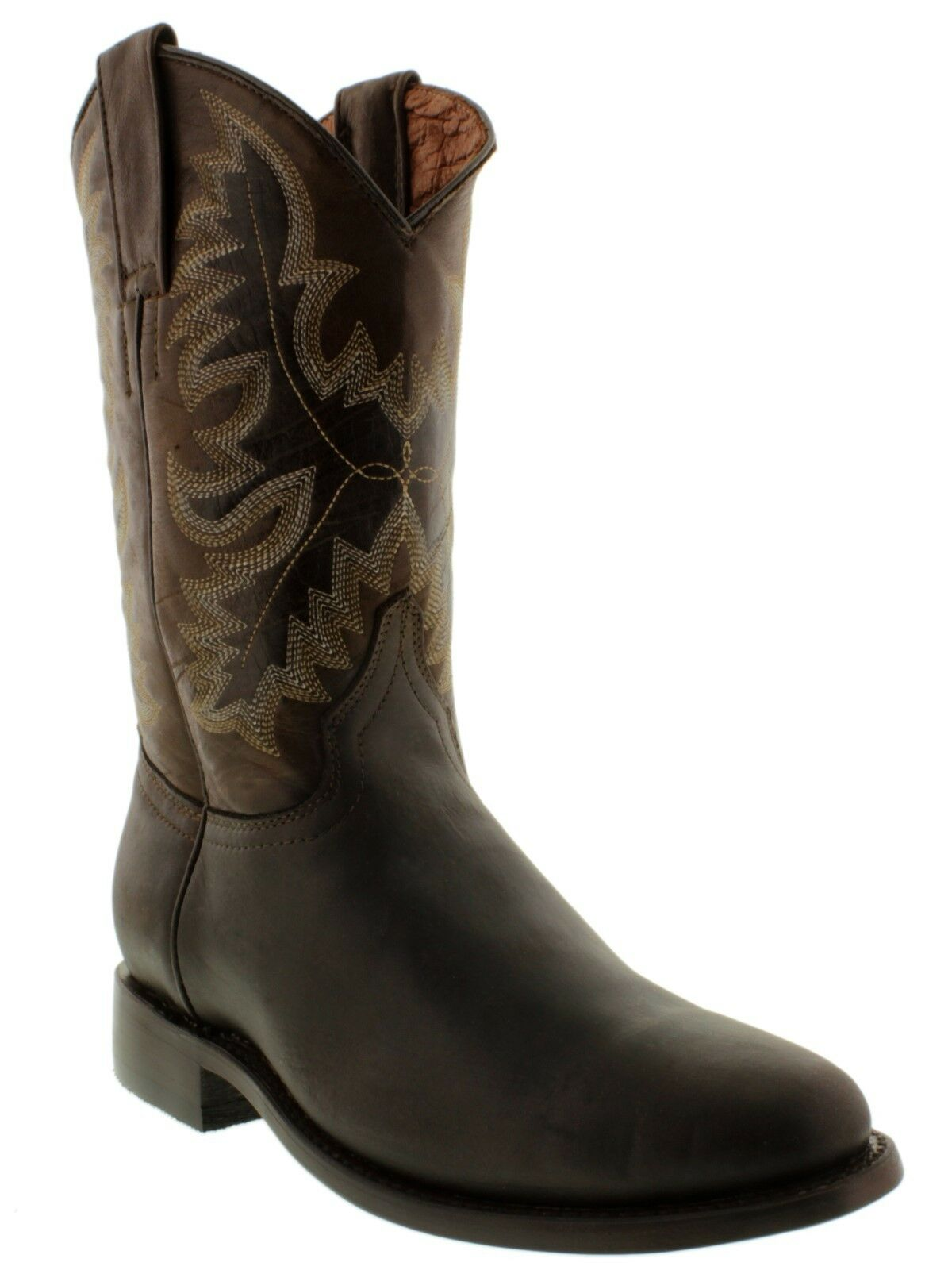 Mens Brown Smooth Genuine Leather Western Wear Dress Rodeo Cowboy Boots Roper