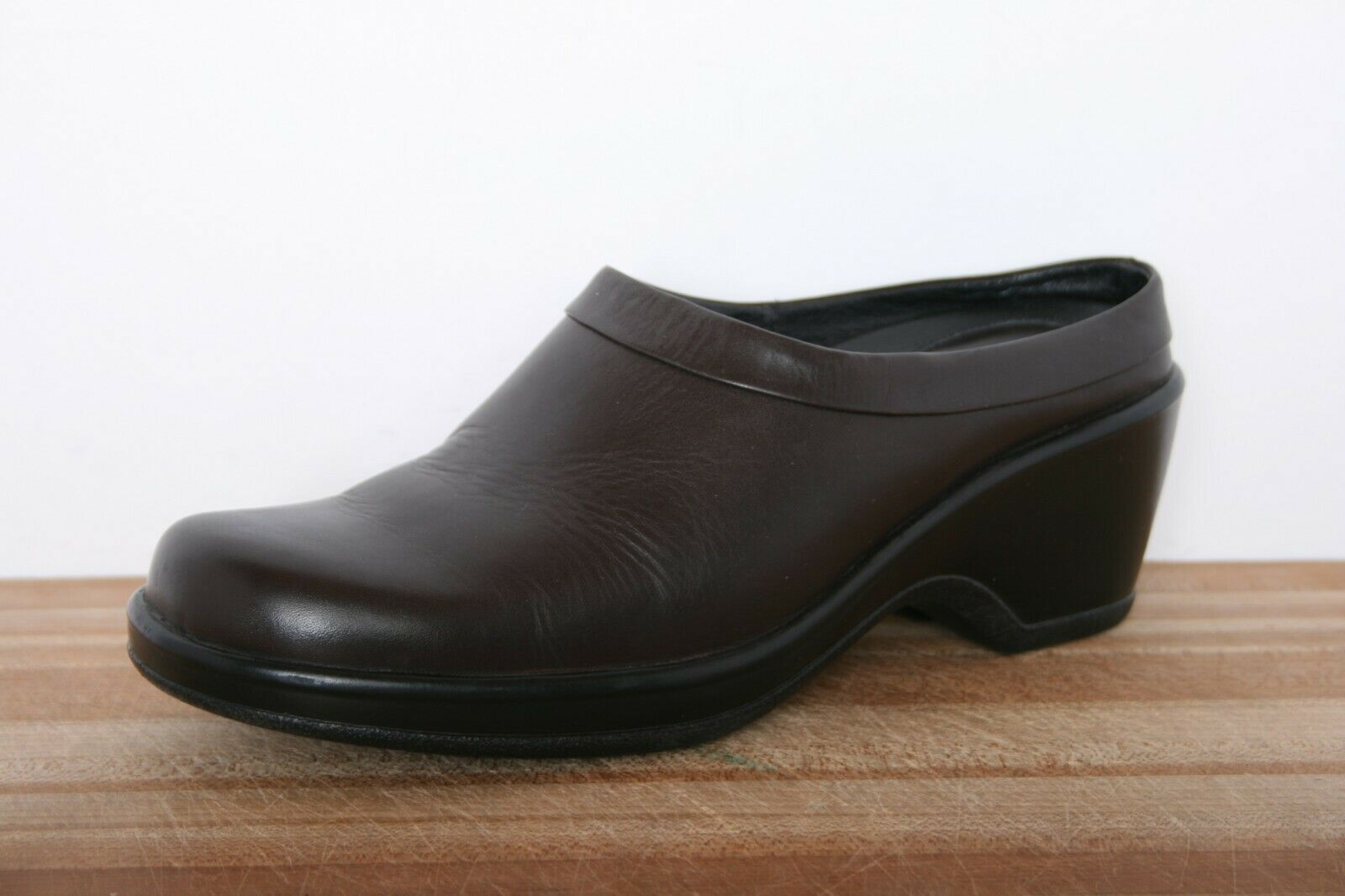 DANSKO Brown Leather Wedge Heel Low Back Clogs EUR 40   US 8.5