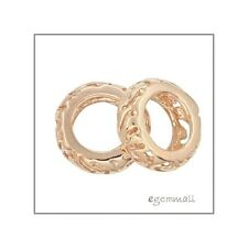 1PC Rose Gold Over Sterling Silver Filigree Rondelle Spacer European Bead #51647
